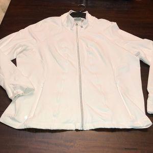 Athleta full zip athletic jacket.  White.